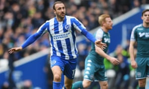 Glenn Murray celebrates scoring the opening goal in the 2-1 home win over Wigan Athletic that put Brighton into the Premier League.