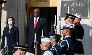 US Defense Secretary Lloyd Austin greets French Defense Minister Florence Parly (left) for talks at the Pentagon in Washington earlier today.