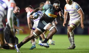 Semi Kunatani makes a break against Leicester on Friday night to score Harlequins' decisive second try in their 23-19 win.
