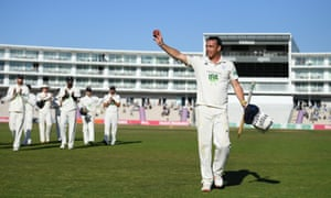 Kyle Abbott walks off after taking 17 (seventeen!) wickets for Hampshire in their match against Somerset.