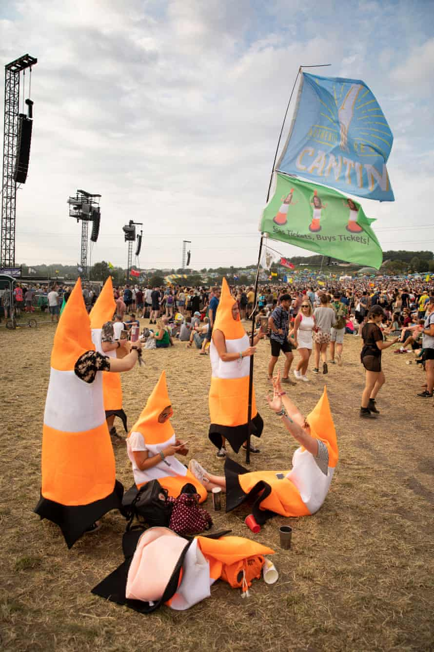 Coneheads … stopping traffic.