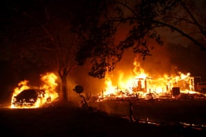 The Kincade fire consumed homes in Geyserville, California.