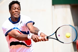 Gael Monfils bashes a backhand to Mikael Ymer.