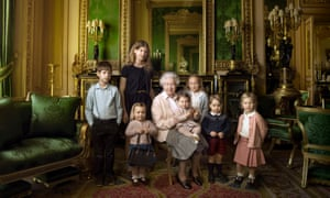 The Queen with her five great-grandchildren and two youngest grandchildren at Windsor Castle