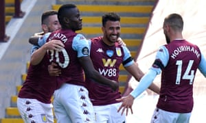 Trezeguet of Aston Villa celebrates with his team after scoring the second goal.