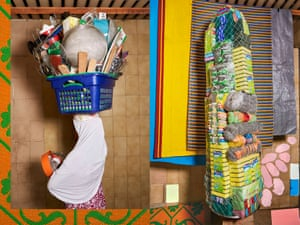 A seller of housewares from Balogun market, Lagos, alongside a package of housekeeping products by Lorenzo Vitturi.
