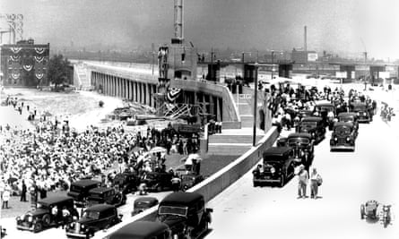 The official 1936 opening of the Triborough Bridge, a construction project which helped consolidate Robert Moses's political power.