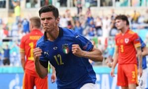 Matteo Pessina celebrates scoring.