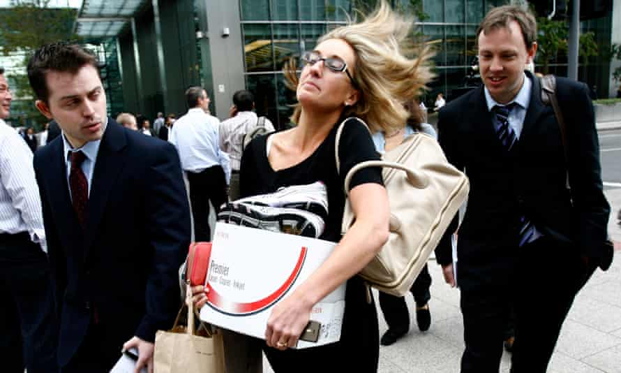 Lehman Brothers staff leaving its Canary Wharf offices after it sought bankruptcy protection in 2008.