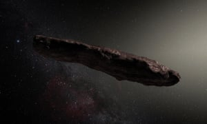 An artist's impression of interstellar asteroid 'Oumuamua.