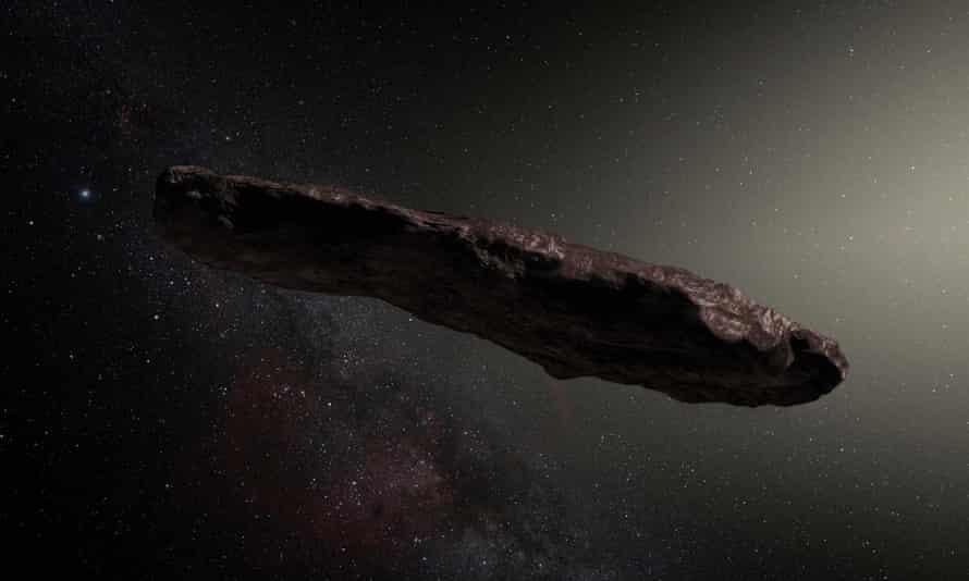 An artist's impression of interstellar asteroid 'Oumuamua.