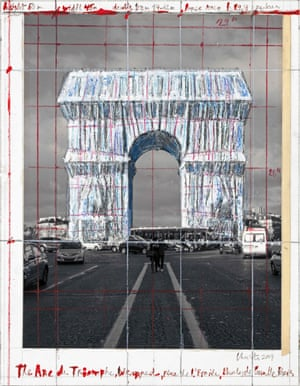 Christo's vision of the Arc de Triomphe wrapped.