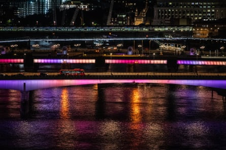 London bridge and Cannon street railway bridge are illuminated in the first phase of the project.