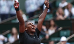 Serena Williams celebrates winning her second round match against Ashleigh Barty.