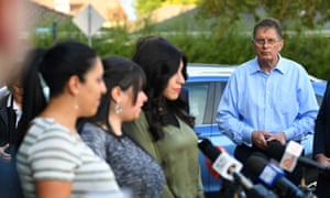 Ted Baillieu looks on as sisters Elly Sapper, Dassi Erlich and Nicole Meyer speak to media in Melbourne after an Israeli court ruled that Malka Leifer was mentally fit to be extradited to Australia, on 27 May, 2020.