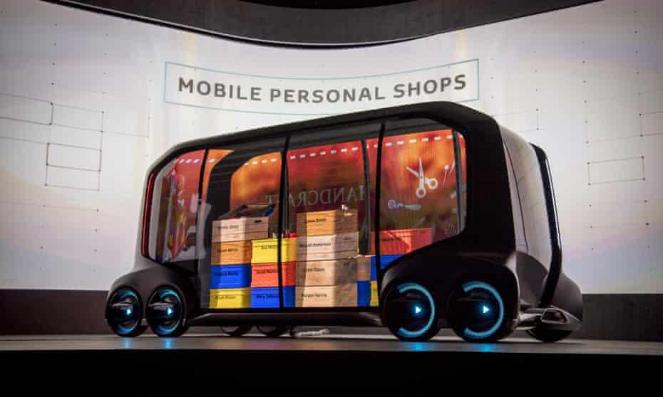 "Toyota's electric, self-driving ""e-Palette""."