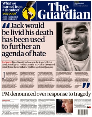 Guardian front page, Tuesday 3 December 2019