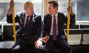Boris Johnson with Prime Minister David Cameron on a tube train