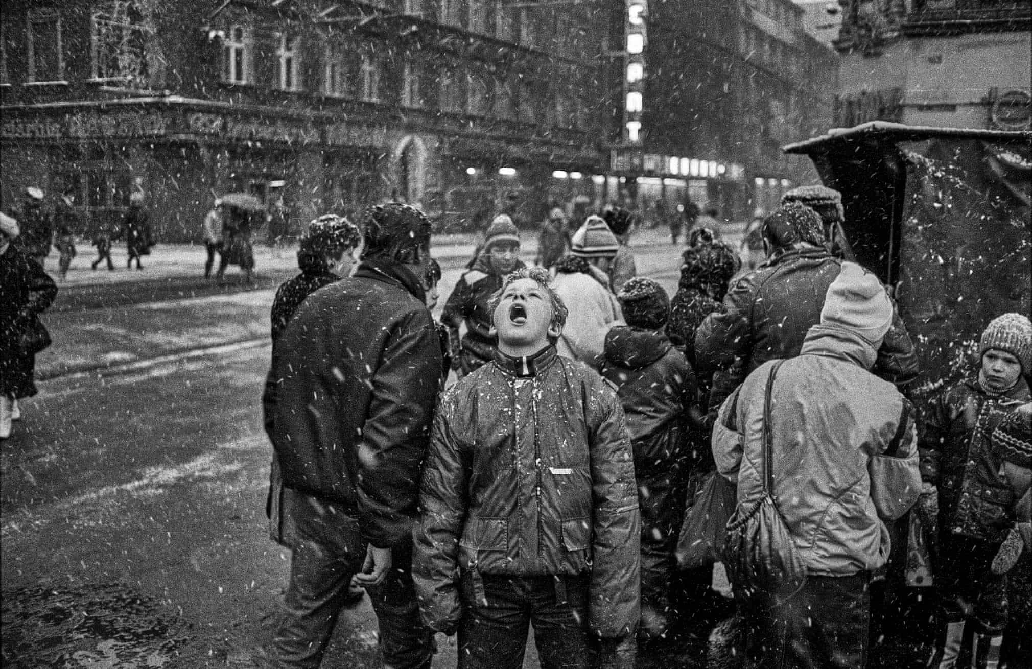 Snow eater in front of the railway station, Katowice, Poland, 1988