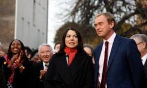 Tim Farron (right) with Sarah Olney, the new Lib Dem MP for Richmond Park.