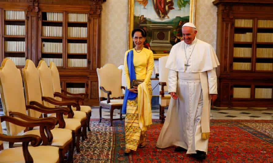 Aung San Suu Kyi and Pope Francis during a private audience at the Vatican in May.