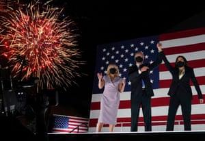 Jill Biden, Joe Biden and Kamala Harris greet supporters after the Democratic national convention on 20 August 2020