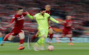 Andrew Robertson tugs back Lionel Messi as Barcelona push forward in search of an away goal which would thwart Liverpool's comeback