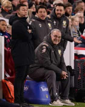 Marcelo Bielsa, sitting on his blue bucket, at Middlesbrough