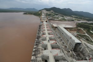 Construction work on Ethiopia's Grand Renaissance dam in Guba woreda, in the Ethiopian region of Benishangul-Gumuz