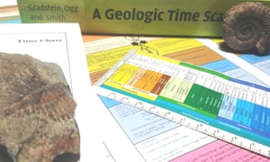 Geologic time scales divide geologic time into eons; eons into eras; and eras into periods, epochs and ages.