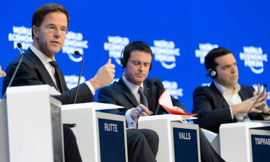 (L-r) The prime ministers of the Netherlands, Mark Rutte; France, Manuel Valls, and Greece, Alexis Tsipras, at a panel session in Davos.