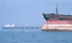 Tankers anchored in the strait of Hormuz. The waterway is a vital route for much of the west's oil.