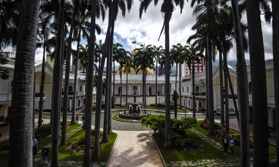 The national assembly building in Caracas.