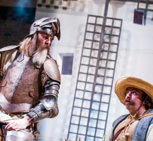 Don Quixote, 2016. Directed by Angus Jackson, designed by Robert Innes Hopkins. The photograph shows Don Quixote (David Threlfall) and Sancho (Rufus Hound).
