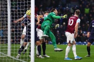 Roberto of West Ham United somehow punches the ball into his own net against Burnley in a game they lost 3-0.