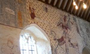 Murals in St Cadoc's church, Llancarfan