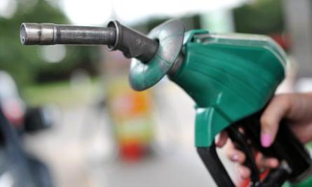 A petrol pump nozzle