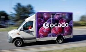 An Ocado delivery van is seen driving in Hatfield.