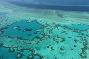 The Great Barrier Reef off the coast of the Whitsunday Islands, Australia.