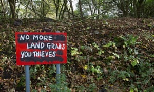 No trespassing signs in Freeman's Wood have been subversively mutilated.
