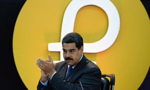 Venezuelan president Nicolas Maduro at a press conference for the petro cryptocurrency on 20 February. He said petro raised $735m in the first day.
