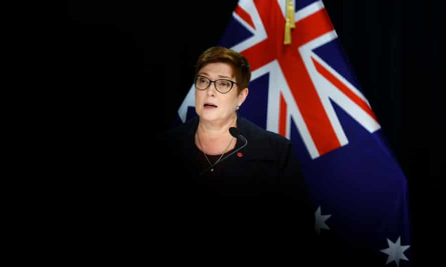 Australian foreign minister Marise Payne talks to media during a press conference at Parliament in Wellington, New Zealand