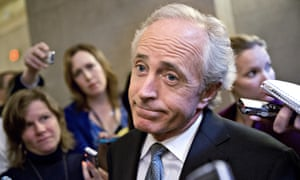 Bob Corker speaks to reporters on Capitol Hill in Washington Tuesday.