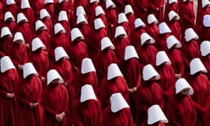 Filming for a scene from the TV adaptation of The Handmaid's Tale