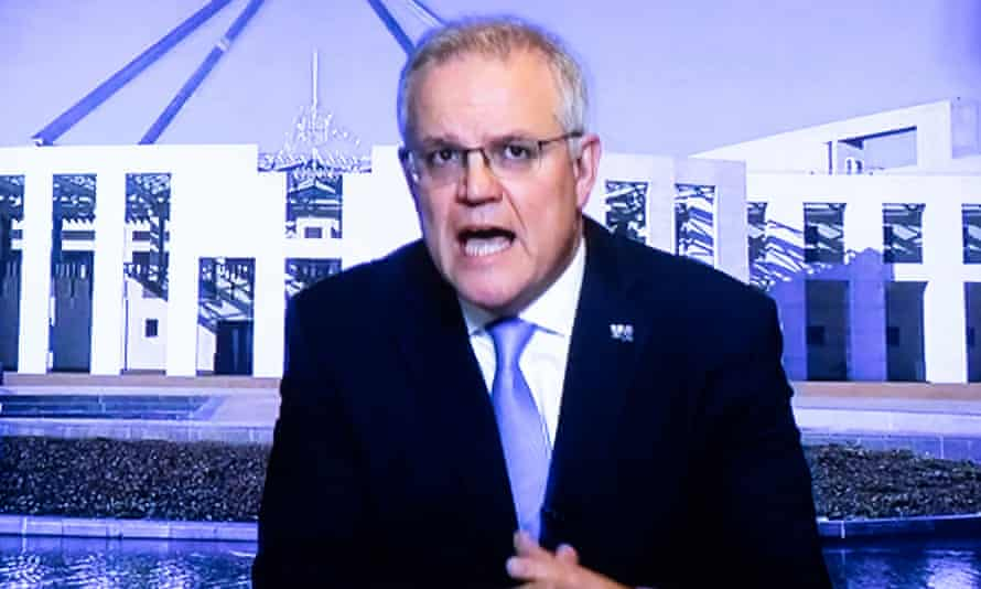 Prime Minister Scott Morrison via video from the lodge during question time in the house of representatives, Parliament House Canberra.