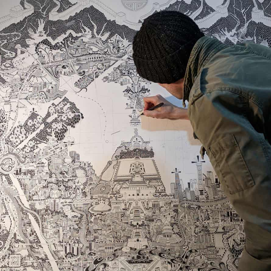 Fuller at work on his Beijing map