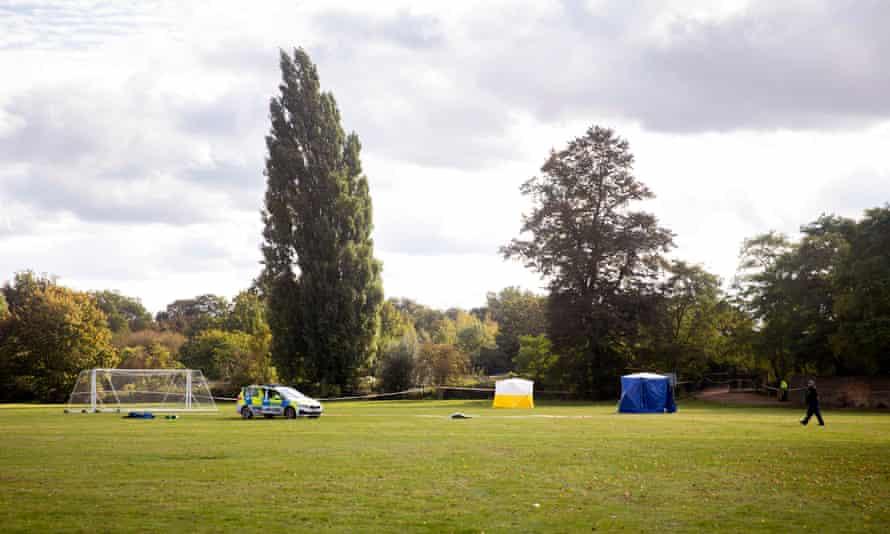 Police at Craneford Way playing fields in Twickenham