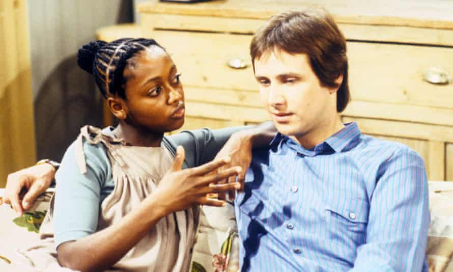Adoley Odunton Proser - credited as Muriel Odunton – and Christopher Blake in a 1980 episode of the TV series Mixed Blessings.