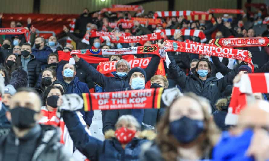 Liverpool fans attend a match against Tottenham at Anfield last December. From May 17 onwards, up to 10,000 fans will be permitted at sporting events.