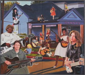 A mural on the exterior of Fanny's House of Music in Nashville depicts some of the great female guitarists